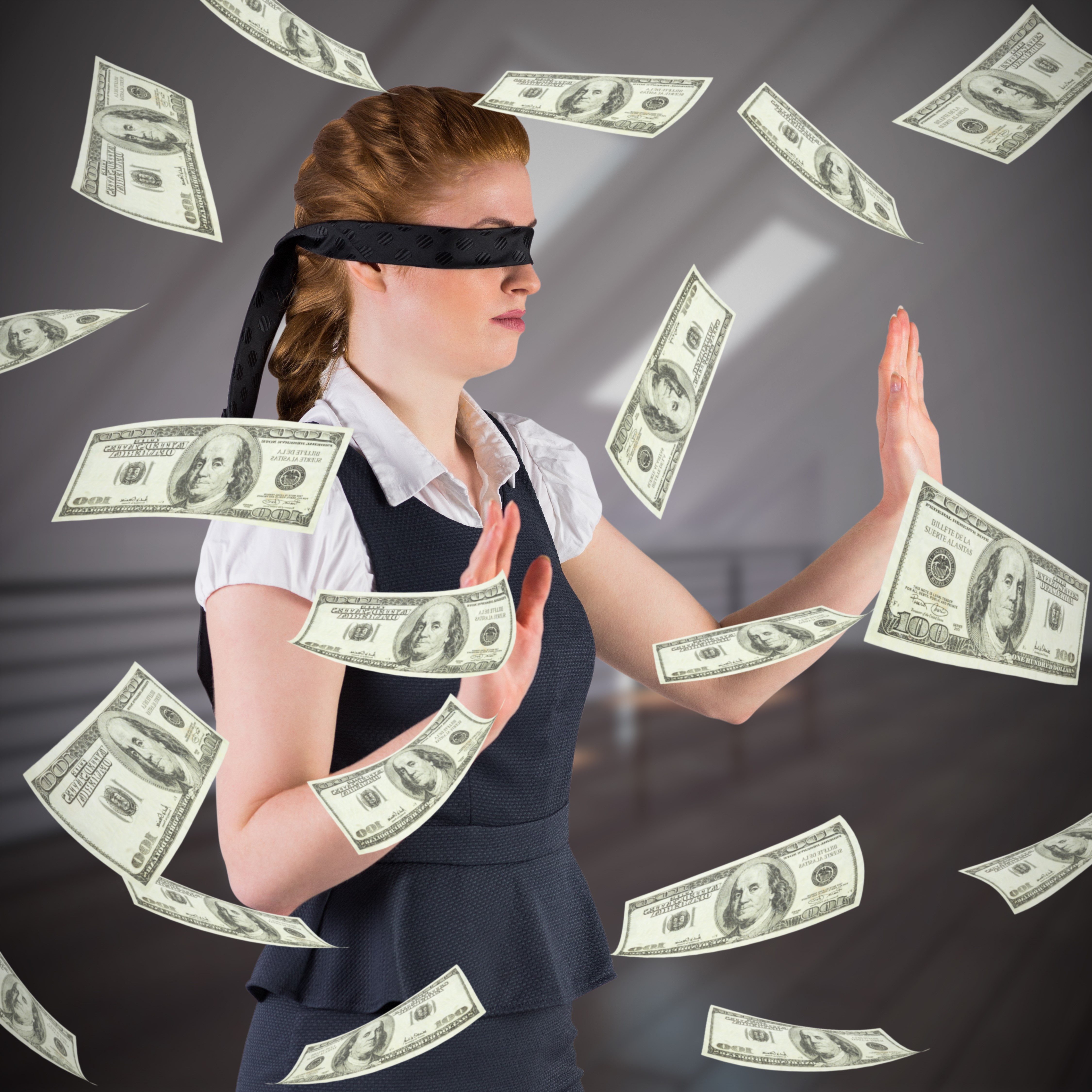 vulnerable woman blindfolded with money floating around